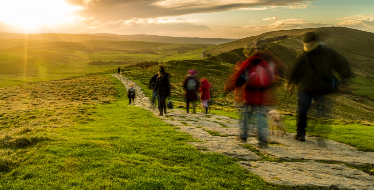 Walkers at Mam Tor in the Peak District