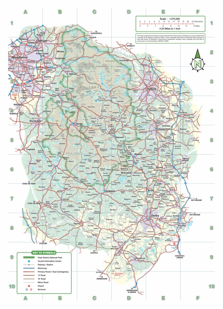 Map of the Peak District and Derbyshire