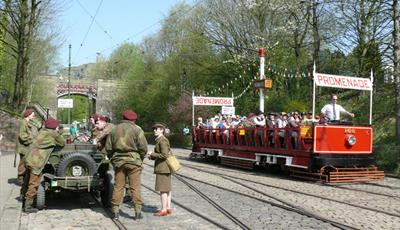 Army and Tram at World War II Event
