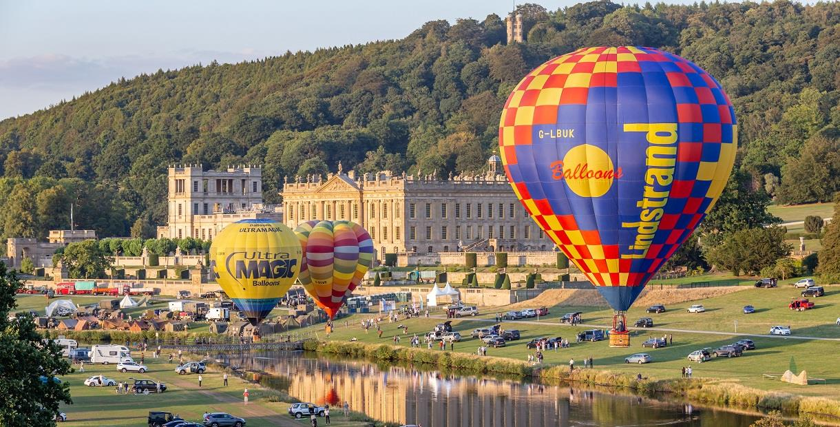 Hot air balloons at Chatsworth country fair