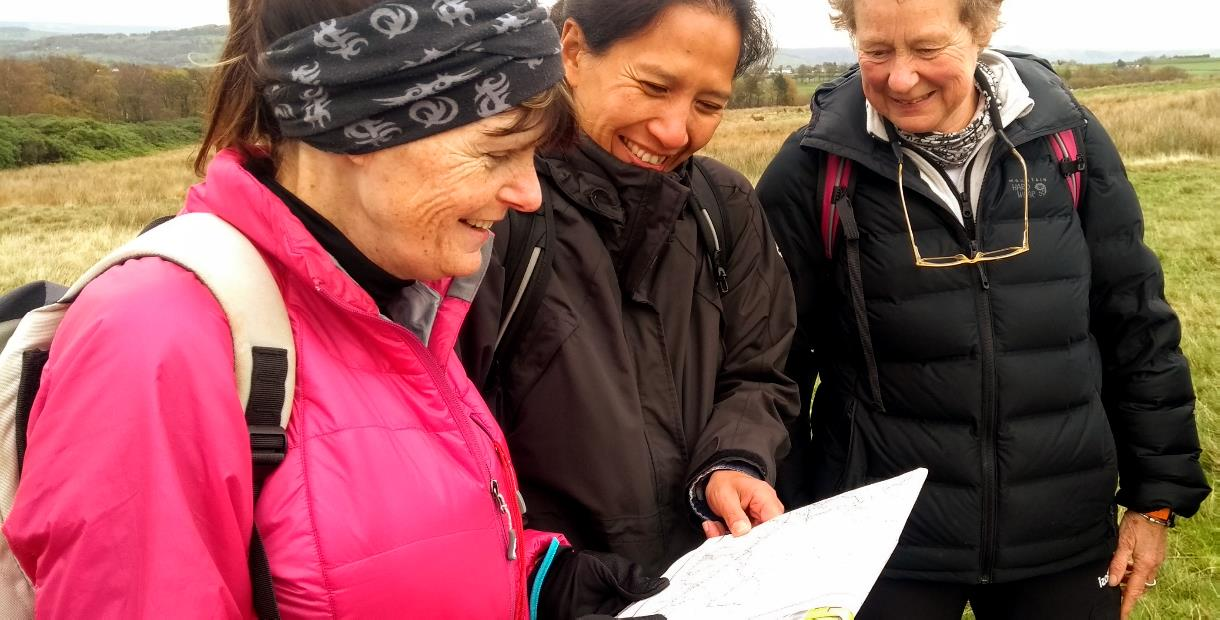 Navigation training with map and compass around Edale, Derbyshire