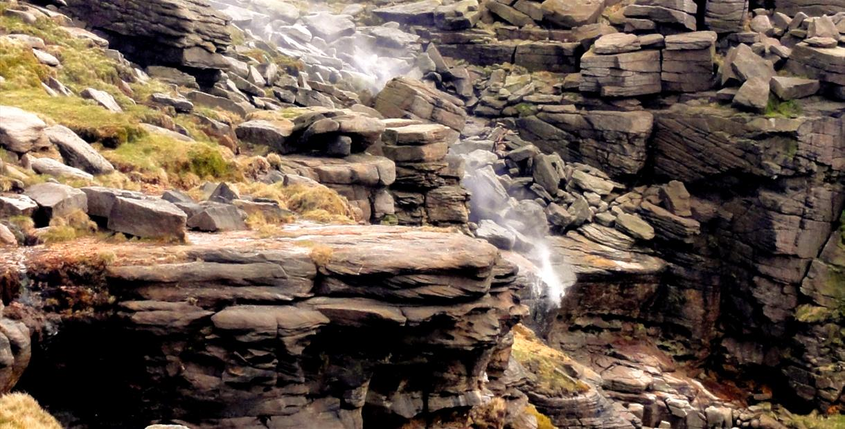 Kinder Downfall as seen from the Kinder Scout Adventure, guided walk