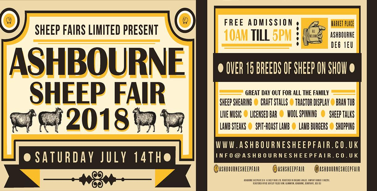Ashbourne Sheep Fair Saturday 14th July 2018. 10am till 5pm. Free family entertainment.