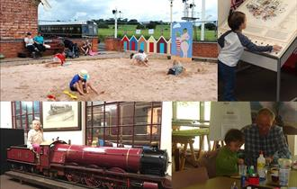 Family visitors enjoy craft activities and a sandy beach at the Midland Railway Butterley