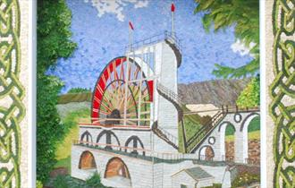 2018 Tideswell's Welldressing of the Laxey Wheel Isle of Man